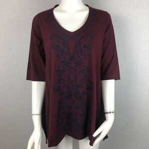 Caite Merlot Savina Embroidered Top Size Small